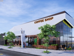 Model coffee ấn tượng - impressive model 3D Sketchup coffee shop