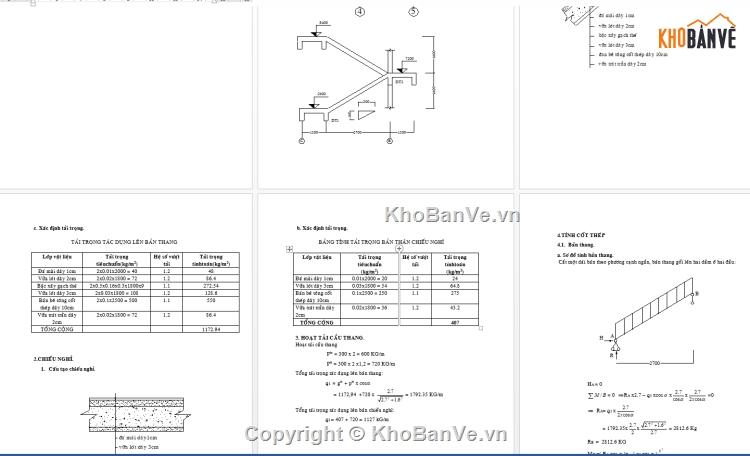 File CAD Bản vẽ cầu thang và dự toán excel tính tải trọng