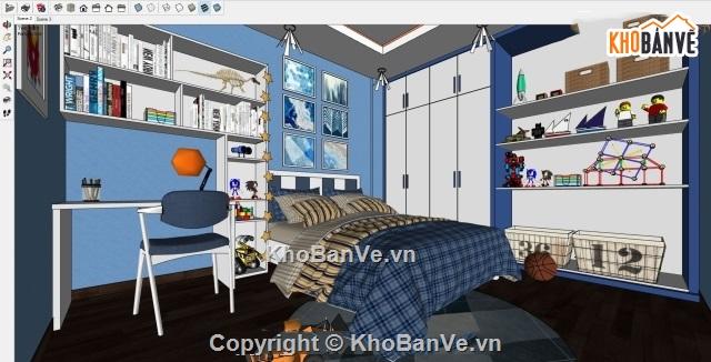 Phối cảnh nội thất bằng Enscape Phòng ngủ cực chất SKETCHUP